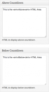Above & Below Countdown HTML Areas