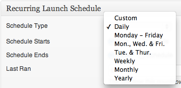 Recurring Launch Schedule - Launch Type