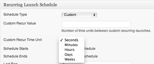 Recurring Launch Schedule - Custom Schedule Type