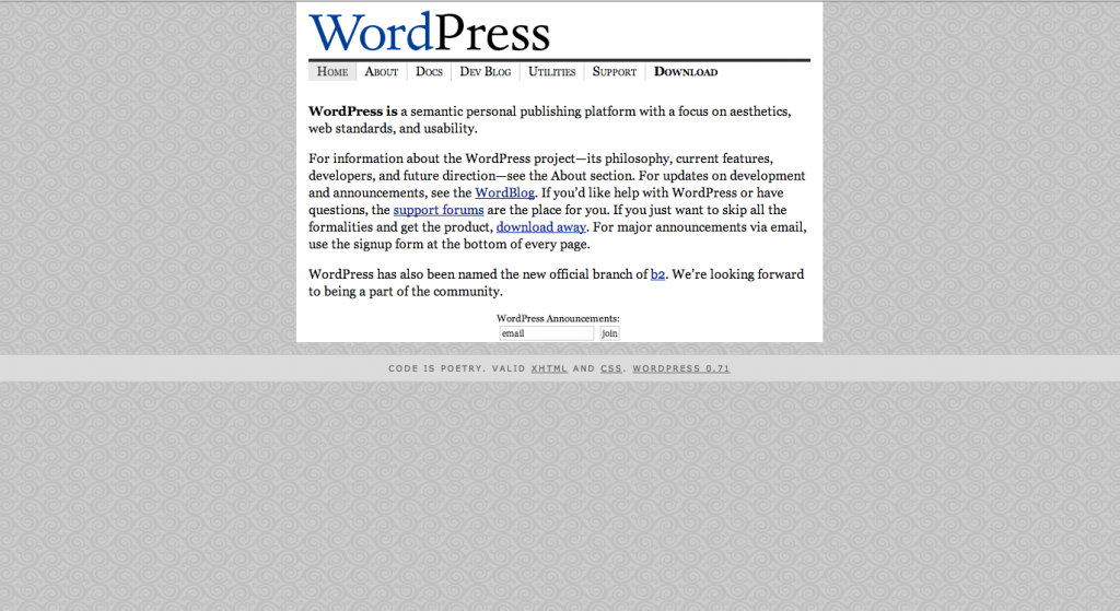 WordPress.org Homepage 2003