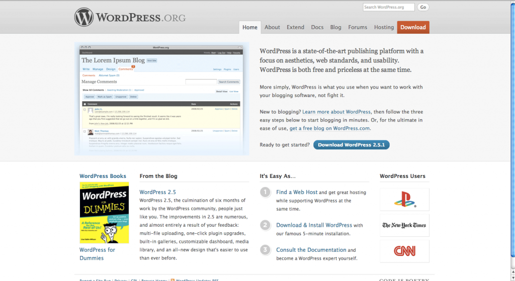 WordPress.org Homepage 2008